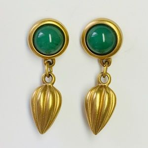 Avon Vintage Green Cabochons Gold Dangle Earrings